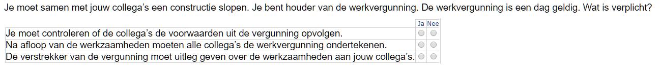 VCA examen Ja Nee vraag